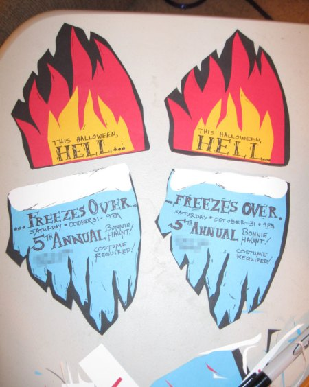 Front and back of Hell Freezes Over party invitation (flips vertically)